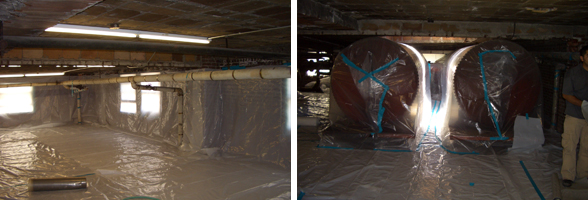 Removal of asbestos wrapped piping and preparing the site for abatement.